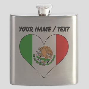 Custom Mexico Flag Heart Flask