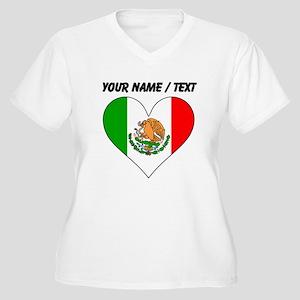 Custom Mexico Flag Heart Plus Size T-Shirt