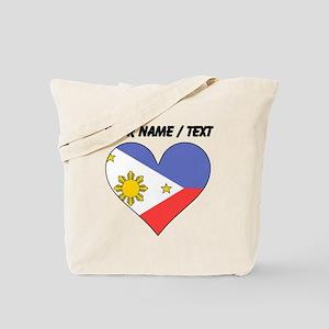 Custom Philippines Flag Heart Tote Bag