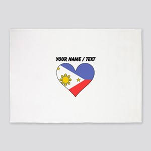 Custom Philippines Flag Heart 5'x7'Area Rug