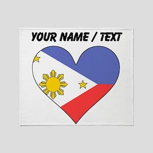 Custom Philippines Flag Heart Throw Blanket