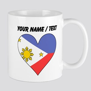Custom Philippines Flag Heart Mugs