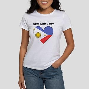 Custom Philippines Flag Heart T-Shirt