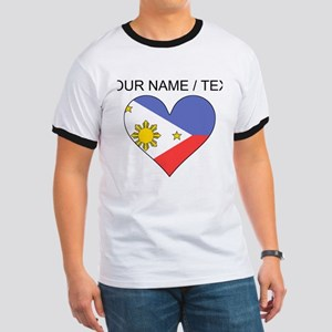 Custom Philippines Flag Heart T-Shirt