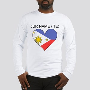 Custom Philippines Flag Heart Long Sleeve T-Shirt
