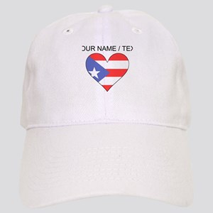 Custom Puerto Rico Flag Heart Baseball Cap