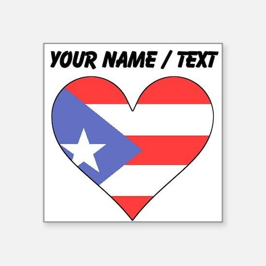 Custom Puerto Rico Flag Heart Sticker