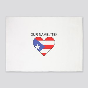 Custom Puerto Rico Flag Heart 5'x7'Area Rug