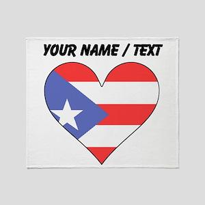 Custom Puerto Rico Flag Heart Throw Blanket