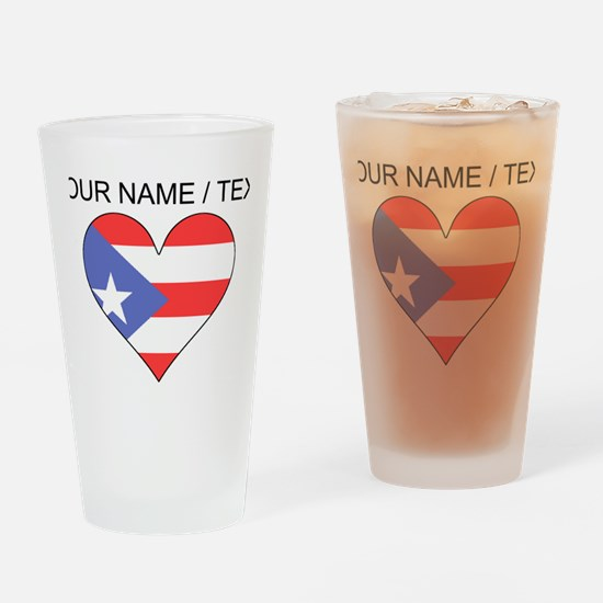 Custom Puerto Rico Flag Heart Drinking Glass