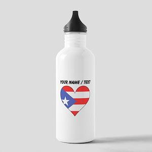 Custom Puerto Rico Flag Heart Water Bottle