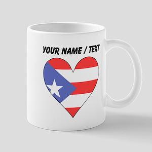 Custom Puerto Rico Flag Heart Mugs