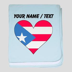 Custom Puerto Rico Flag Heart baby blanket