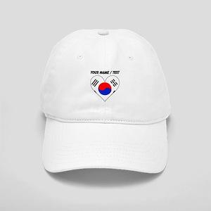 Custom South Korea Flag Heart Baseball Cap