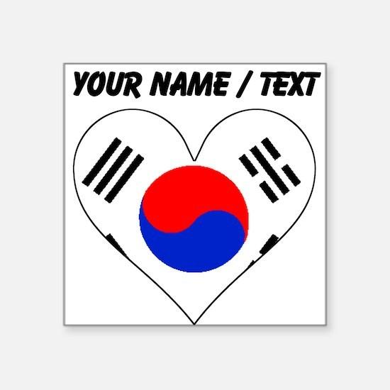 Custom South Korea Flag Heart Sticker
