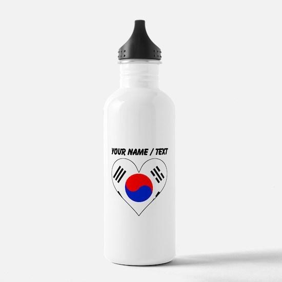 Custom South Korea Flag Heart Water Bottle