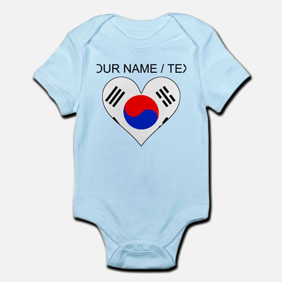 Custom South Korea Flag Heart Body Suit
