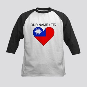 Custom Taiwan Flag Heart Baseball Jersey