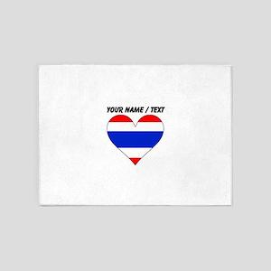 Custom Thailand Flag Heart 5'x7'Area Rug