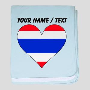 Custom Thailand Flag Heart baby blanket