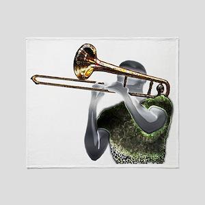 Jazz Trombonist by Bluesax Throw Blanket