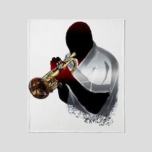 Jazz Trumpeter by Bluesax Throw Blanket