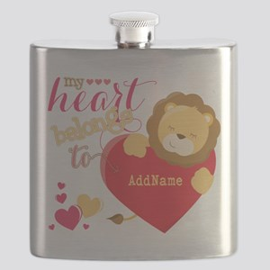 My Heart Belongs to Personalized Flask