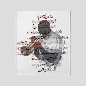 Trumpeter by Bluesax Throw Blanket