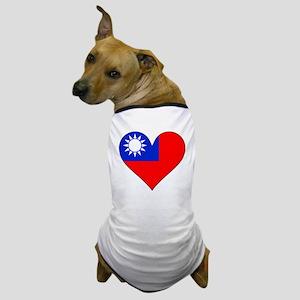 Taiwan Flag Heart Dog T-Shirt