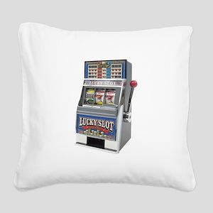 Casino Slot Machine Square Canvas Pillow