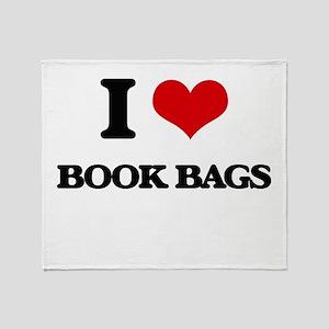 I Love Book Bags Throw Blanket