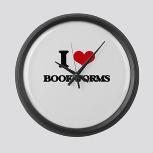 I Love Bookworms Large Wall Clock