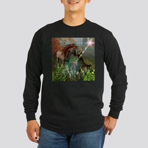 Beautiful elf with her horse Long Sleeve T-Shirt