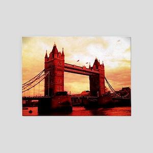 london tower bridge red 5'x7'Area Rug