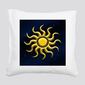 Sun In The Starry Sky Square Canvas Pillow
