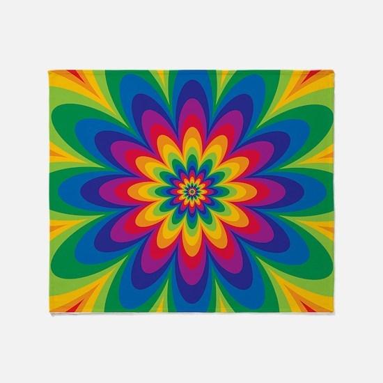 Rainbow Flower Throw Blanket