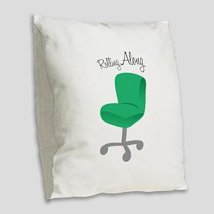 Rolling Along Burlap Throw Pillow