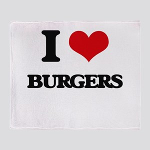 I Love Burgers Throw Blanket