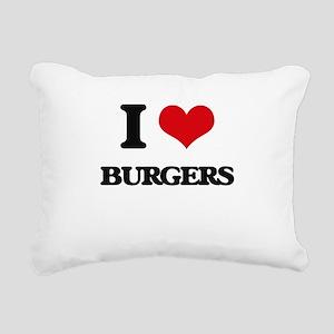 I Love Burgers Rectangular Canvas Pillow