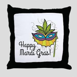 Happy Mardi Gras Throw Pillow