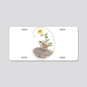 House wren and Sunflower Aluminum License Plate