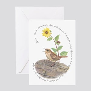 House Wren And Sunflower Greeting Cards