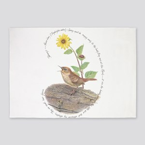 House wren and Sunflower 5'x7'Area Rug