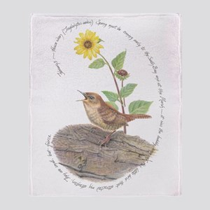 House Wren And Sunflower Throw Blanket