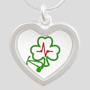 Shamrock Stethoscope Heartbe Silver Heart Necklace