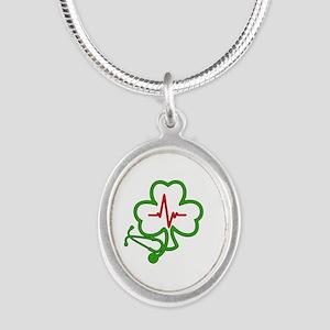 Shamrock Stethoscope Heartbea Silver Oval Necklace