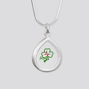 Shamrock Stethoscope Hea Silver Teardrop Necklace