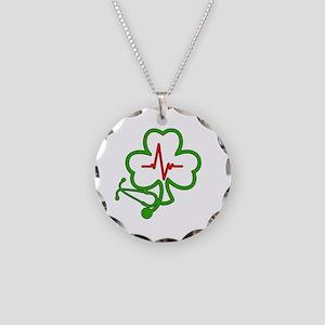 Shamrock Stethoscope Heartbe Necklace Circle Charm