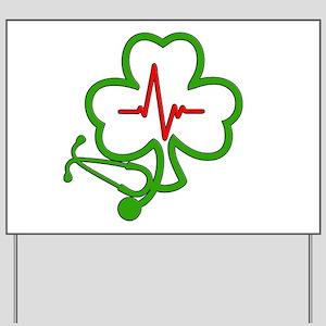 Shamrock Stethoscope Heartbeat Yard Sign