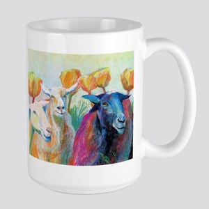 Goats In Poppies-Large Mugs